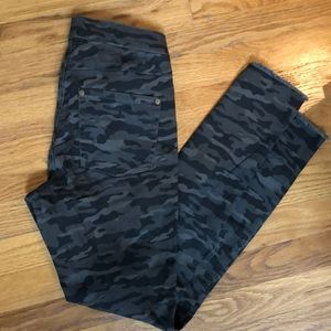 ZeZa B. Comfortable shredded camo denim leggings